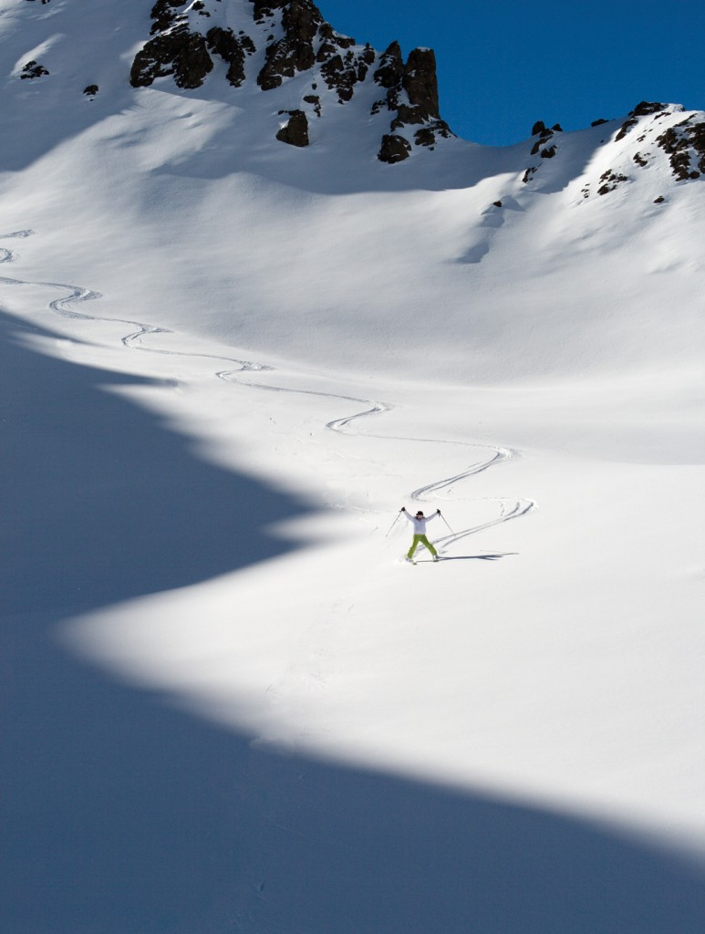 The first tracks in Olivares Valley are at 4,500 metres, and make for one happy ski addict!